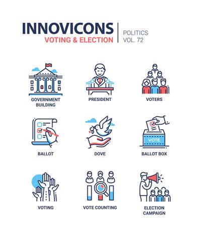 Illustration pour Icon set for voting and election. - image libre de droit