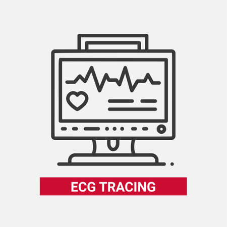 Ilustración de ECG tracing line design single isolated icon. - Imagen libre de derechos