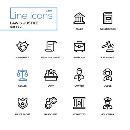 Illustration for Law and justice - line design icons set. High quality pictogram. Court, constitution, handshake, legal document, briefcase, judge gavel, scales, lawyer, police badge, handcuffs, convicted, policeman - Royalty Free Image