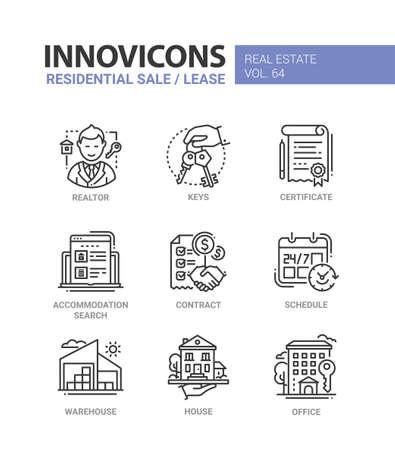 Illustration pour Residential sale and lease - line design icons set. - image libre de droit