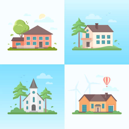 Illustration pour Nice houses - set of modern flat design style vector illustrations on blue background. A collection of four images of small buildings, church, trees, balloon, clouds, windmills, birds - image libre de droit