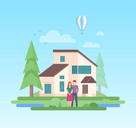 Illustration pour Country house - modern flat design style vector illustration on blue background. A composition with a couple standing in front of a small low-storey building, trees, balloon, clouds, sun - image libre de droit