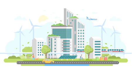 Ilustración de Eco-friendly housing complex - modern flat design style vector illustration on white background. Lovely cityscape with skyscrapers, windmills, solar panels, car, train, bins, people, airplane - Imagen libre de derechos