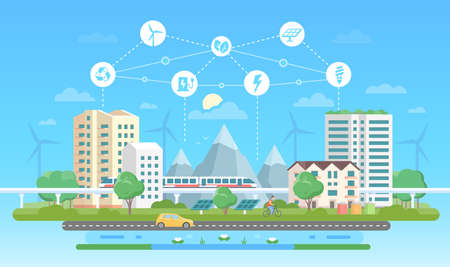 Ilustración de Eco-friendly city - modern flat design style vector illustration on blue background with a set of icons. A landscape with skyscrapers, mountains, car, road, pond. Recycling, saving energy concept - Imagen libre de derechos