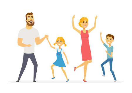 Illustration pour Happy family dancing modern cartoon people characters illustration - image libre de droit