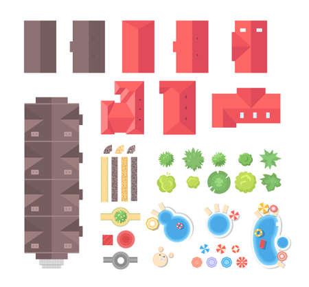 Ilustración de Landscape elements - set of modern vector objects - Imagen libre de derechos