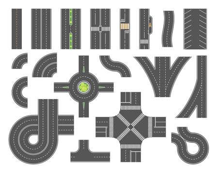 Illustration pour Road map toolkit - set of modern vector city elements - image libre de droit