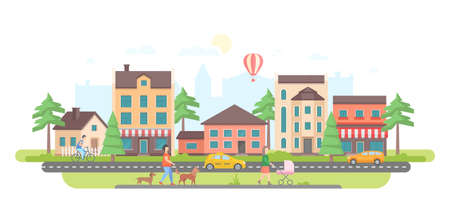 Ilustración de Town life - modern flat design style vector illustration on white background. Lovely housing complex with small buildings, trees, pedestrian zone with people walking, car and taxi on the road - Imagen libre de derechos