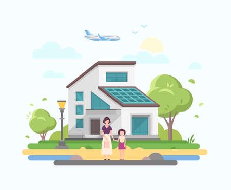 Illustrazione per Lovely house - modern flat design style vector illustration - Immagini Royalty Free
