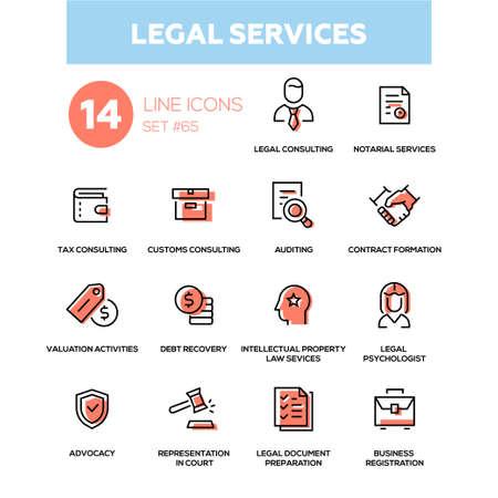 Illustration pour Legal services - line design icons set illustration. - image libre de droit