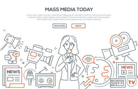 Illustration pour Mass media today   modern line design style illustration - image libre de droit