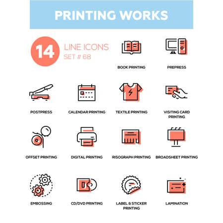 Ilustración de Printing works in line design icons set. - Imagen libre de derechos