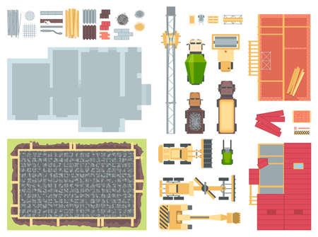 Ilustración de Construction elements - set of modern vector objects. - Imagen libre de derechos