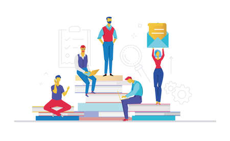 Ilustración de Business team - flat design style colorful illustration on white background. A composition with colleagues working on a project, sitting on big books. A woman holding a big letter - Imagen libre de derechos