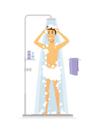 Ilustración de Young man taking a shower on cartoon people character isolated illustration on white background. - Imagen libre de derechos