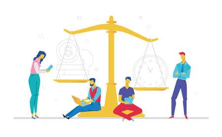 Ilustración de People scale on time against money illustration - Imagen libre de derechos