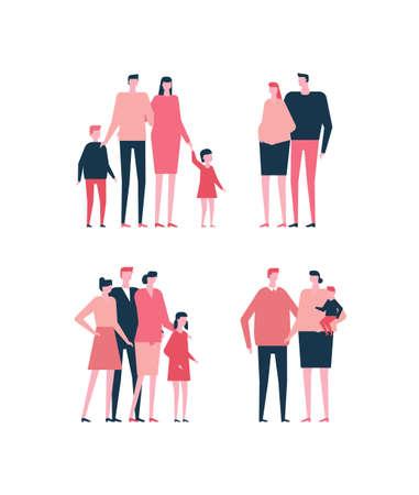 Illustration pour Set of family in flat style illustration. - image libre de droit