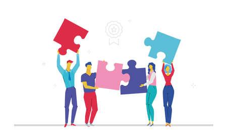 Ilustración de Business team doing a puzzle flat design style colorful illustration - Imagen libre de derechos