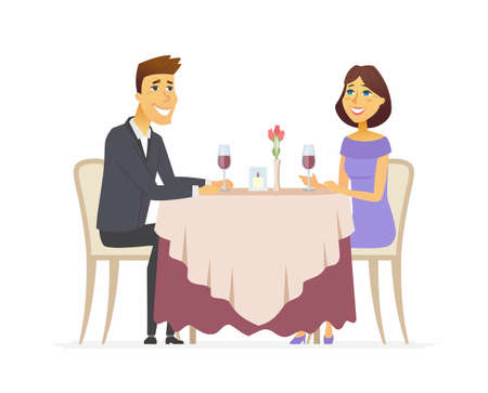 Illustration for Romantic dinner cartoon people character isolated illustration on white background. An image of a smiling man and woman sitting in a restaurant, cafe, drinking wine, happy together. - Royalty Free Image