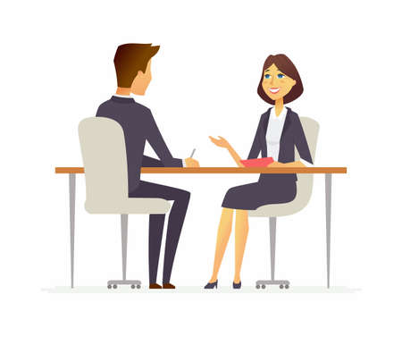 Illustration pour Job interview - cartoon people character isolated illustration - image libre de droit
