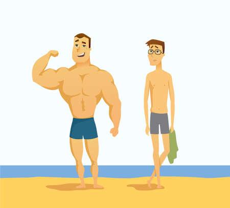 Illustrazione per Muscular man and thin man vector illustration - Immagini Royalty Free