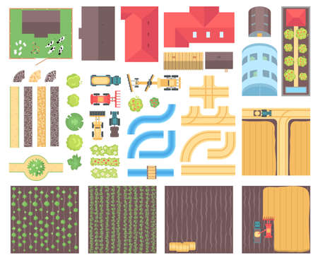 Illustration pour Farm elements - set of modern vector isolated objects - image libre de droit