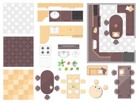 Photo pour Kitchen elements - set of modern vector objects - image libre de droit