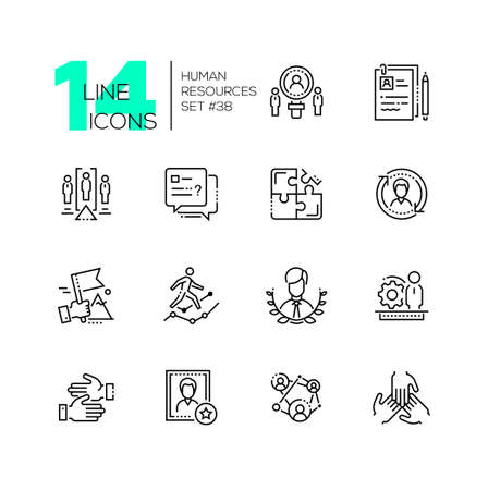 Illustration pour Human resources - set of line design style icons - image libre de droit