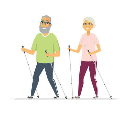 Illustration pour Nordic walking - cartoon people character isolated illustration - image libre de droit