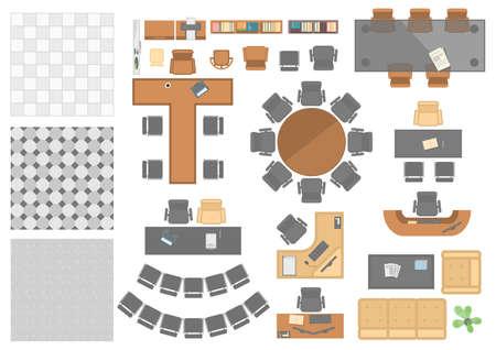 Ilustración de Office workplace elements - set of modern vector objects - Imagen libre de derechos