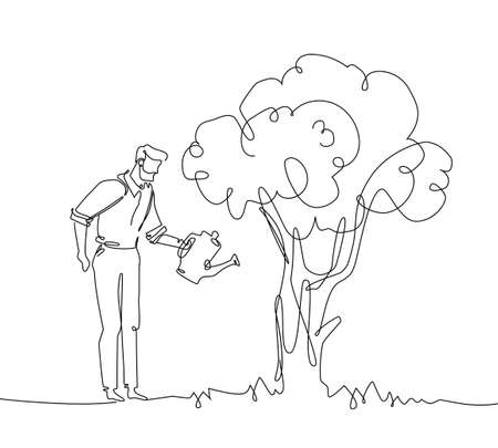 Ilustración de Man watering the tree - one continuous line design style illustration. - Imagen libre de derechos