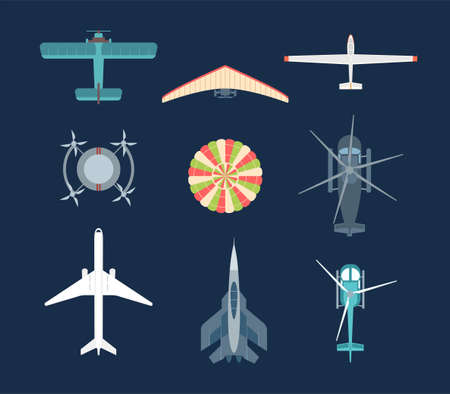 Illustration pour Aircraft - set of modern vector elements - image libre de droit