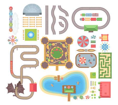 Illustration pour Amusement park - set of modern vector isolated objects - image libre de droit