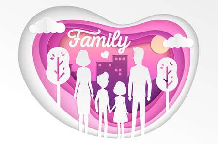Illustration for Family - modern vector paper cut illustration - Royalty Free Image