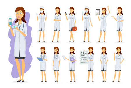 Illustration pour Female doctor - vector cartoon people character set - image libre de droit