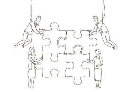 Ilustración de Business team doing a puzzle - one line design style illustration - Imagen libre de derechos