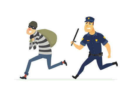 Ilustración de Thief and policeman - cartoon people characters illustration - Imagen libre de derechos