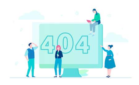 Ilustración de Error 404 page - flat design style colorful illustration - Imagen libre de derechos