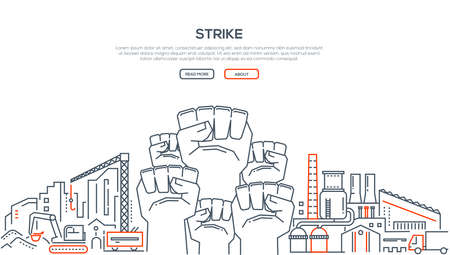 Illustration for Strike - modern line design style illustration on white background with place for your text. Composition with a factory, equipment, vehicles, crane. High quality banner for a website - Royalty Free Image
