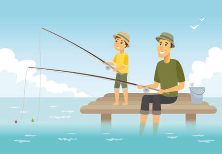 Illustration pour Father and son fishing - cartoon people characters illustration. Composition with young parent and his kid sitting on a pier with fish rods and a basket, having a good time together. Family concept - image libre de droit