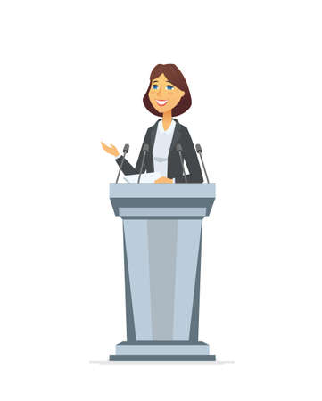 Illustration pour Female politician - cartoon people character isolated illustration on white background. A composition with young pretty woman, public speaker standing behind a podium, giving a speech to the audience - image libre de droit