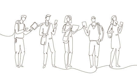 Illustrazione per Students - one line design style illustration isolated on white background. Composition with boys and girls standing, holding smartphones, tablets. Perfect for presentations - Immagini Royalty Free