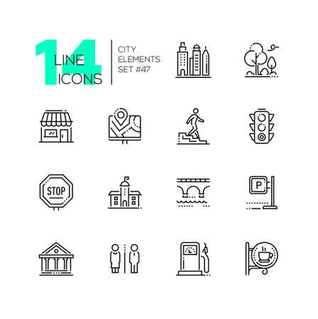 Illustration pour City elements - set of line design style icons - image libre de droit