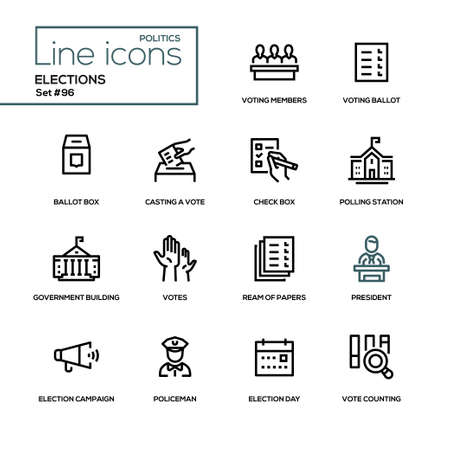Illustration pour Elections - modern line design icons set. Voting members, ballot, check box, casting a vote, polling station, government building, ream of papers, president, campaign, policeman, day, counting - image libre de droit