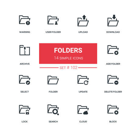 Photo pour Folders - flat design style icons set. High quality black solid pictograms on white background. Upload, download, archive, warning, user, add, select, update, delete, lock, search, cloud, block - image libre de droit