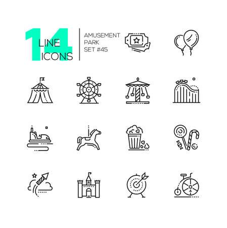 Illustration pour Amusement park - set of line design style icons - image libre de droit