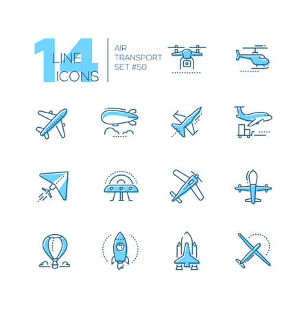 Illustration pour Air transport - thin line design icons set. Blue pictograms. Plane, helicopter, airship, balloon, jet fighter, cargo, quadcopter, flying saucer, hang glider, drone, rocket, space shuttle, airplane - image libre de droit