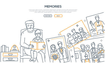 Illustration for Memories - line design style banner on white background with place for text. High quality composition with a grandfather sitting with his grandson and showing him a photo album. Family values concept - Royalty Free Image