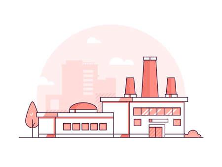 Illustration pour Factory - modern thin line design style vector illustration - image libre de droit