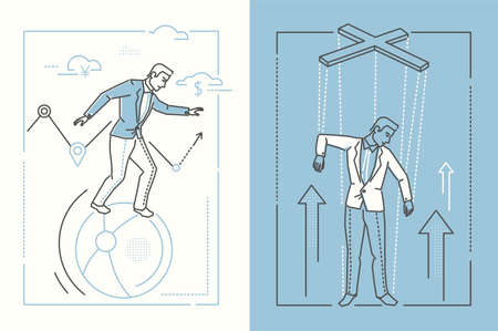 Ilustración de Business stability - set of line design style illustrations on white and blue background. Two high quality banners with businessman balancing on a ball and being a puppet under control - Imagen libre de derechos